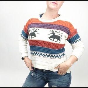 Vintage christmas sweater reindeer high low 70's